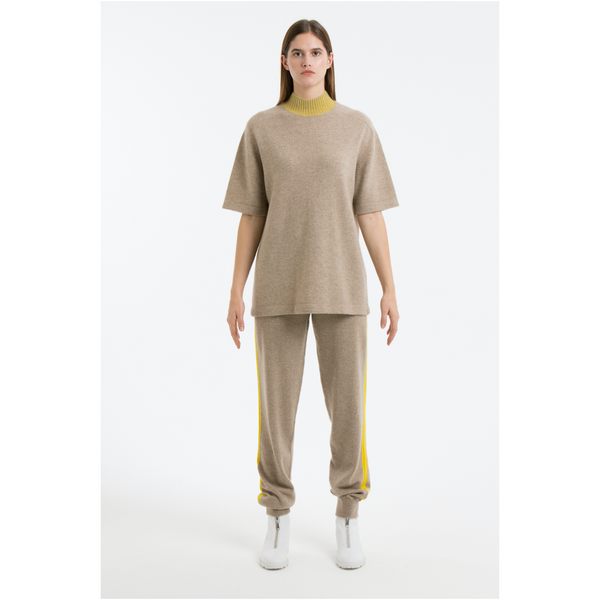High Neck T-Shirt-Light Brown/Yellow