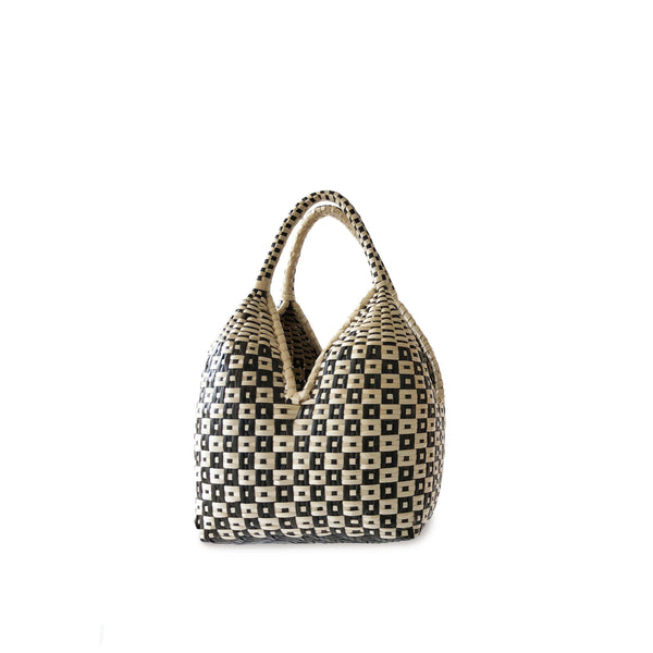 Gaupi Small Woven Clutch Basket in Button Black