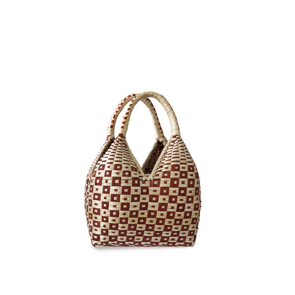Gaupi Small Woven Clutch Basket in Button Red