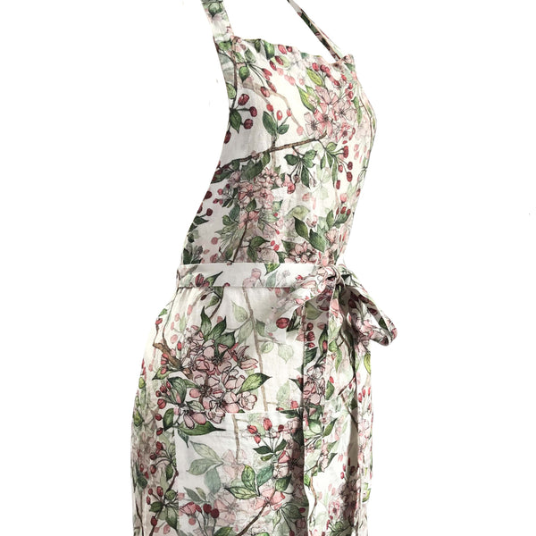 Cherry Blossom printed Linen Apron