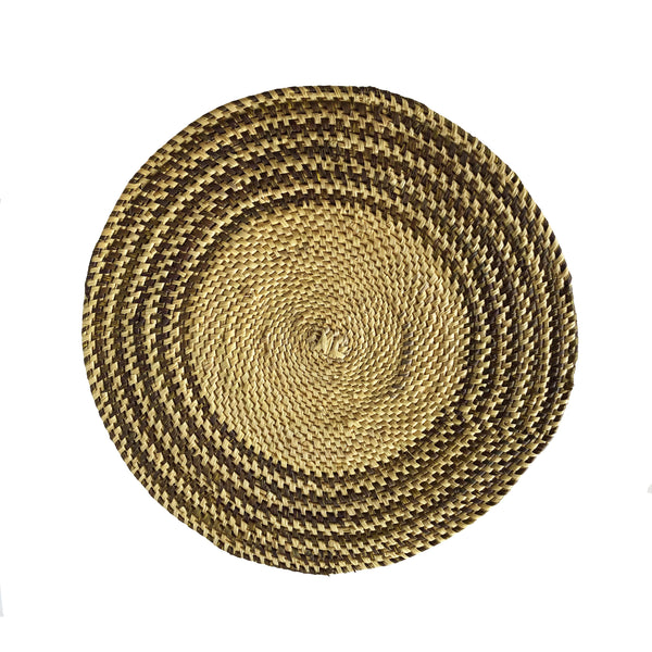 Brown & Natural Hand Woven Straw Placemat