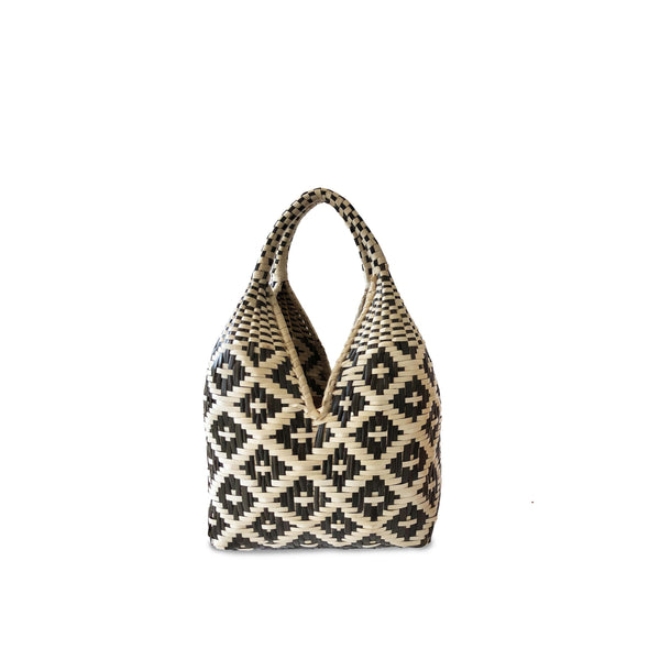 Gaupi Small Woven Clutch Basket in Diamond Black