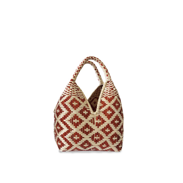 Gaupi Small Woven Clutch Basket in Diamond Red