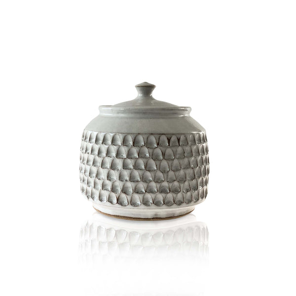 Notched Ceramic Jar