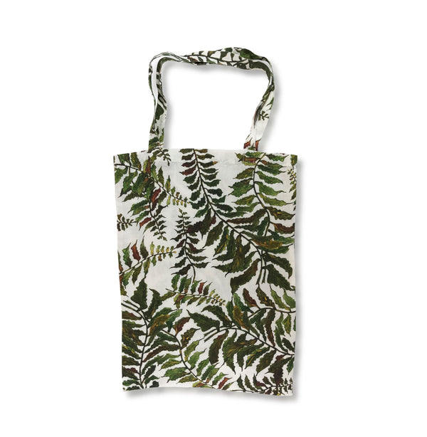 Fern Printed Linen Book Bag