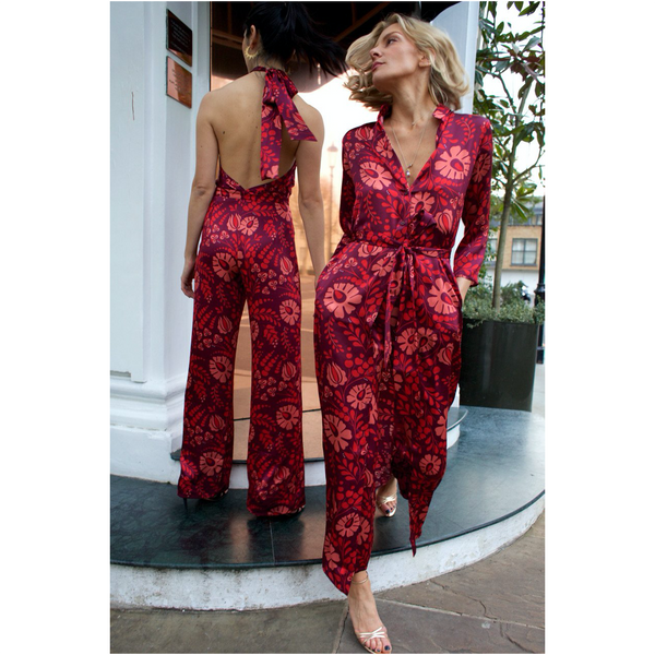 The Long Flirt Shirt Dress in Red