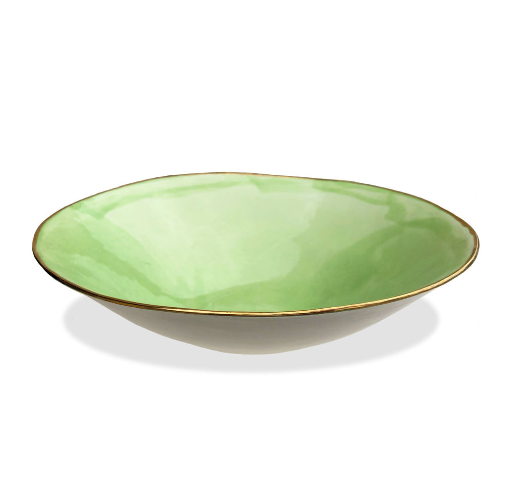Large Bowl with Shiny Gold Rim