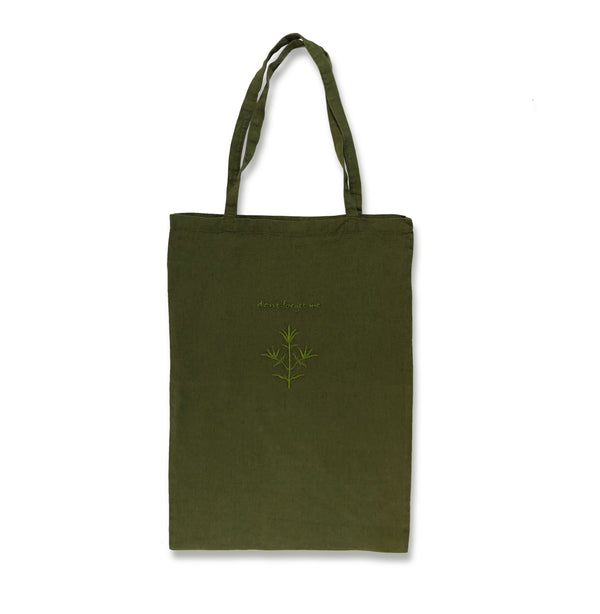 Embroidered Book Bag in Dark Green