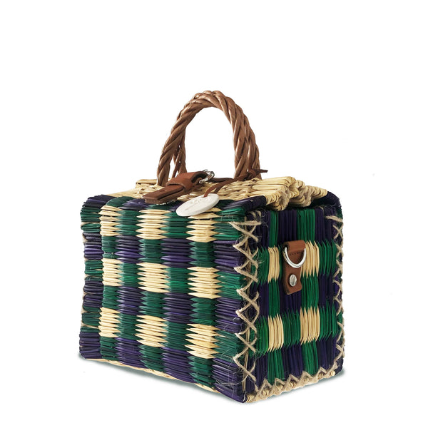 Blue & Green Handwoven Reed Bag