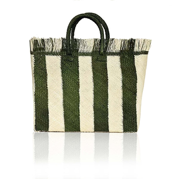 Narino Woven Tote in Olive Green Stripe