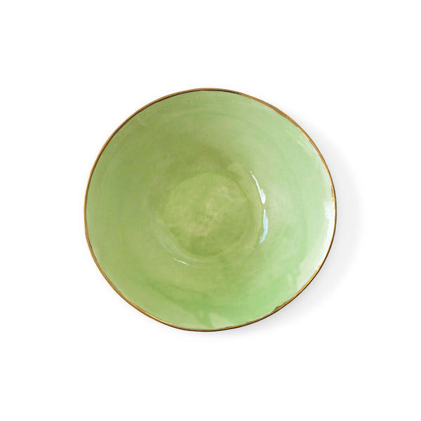 Hand Made Bowl with Gold Rim in Green
