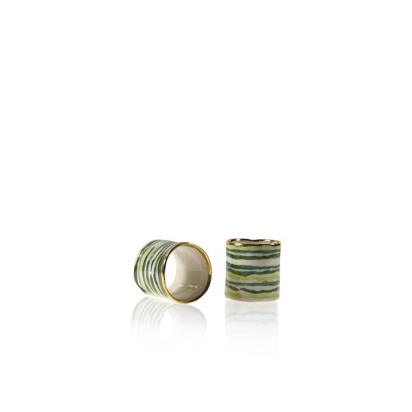 Hand Painted Green Stem Stripe Napkin Ring