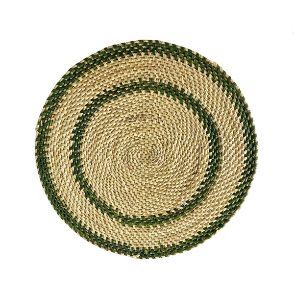 Green & Natural Hand Woven Straw Placemat