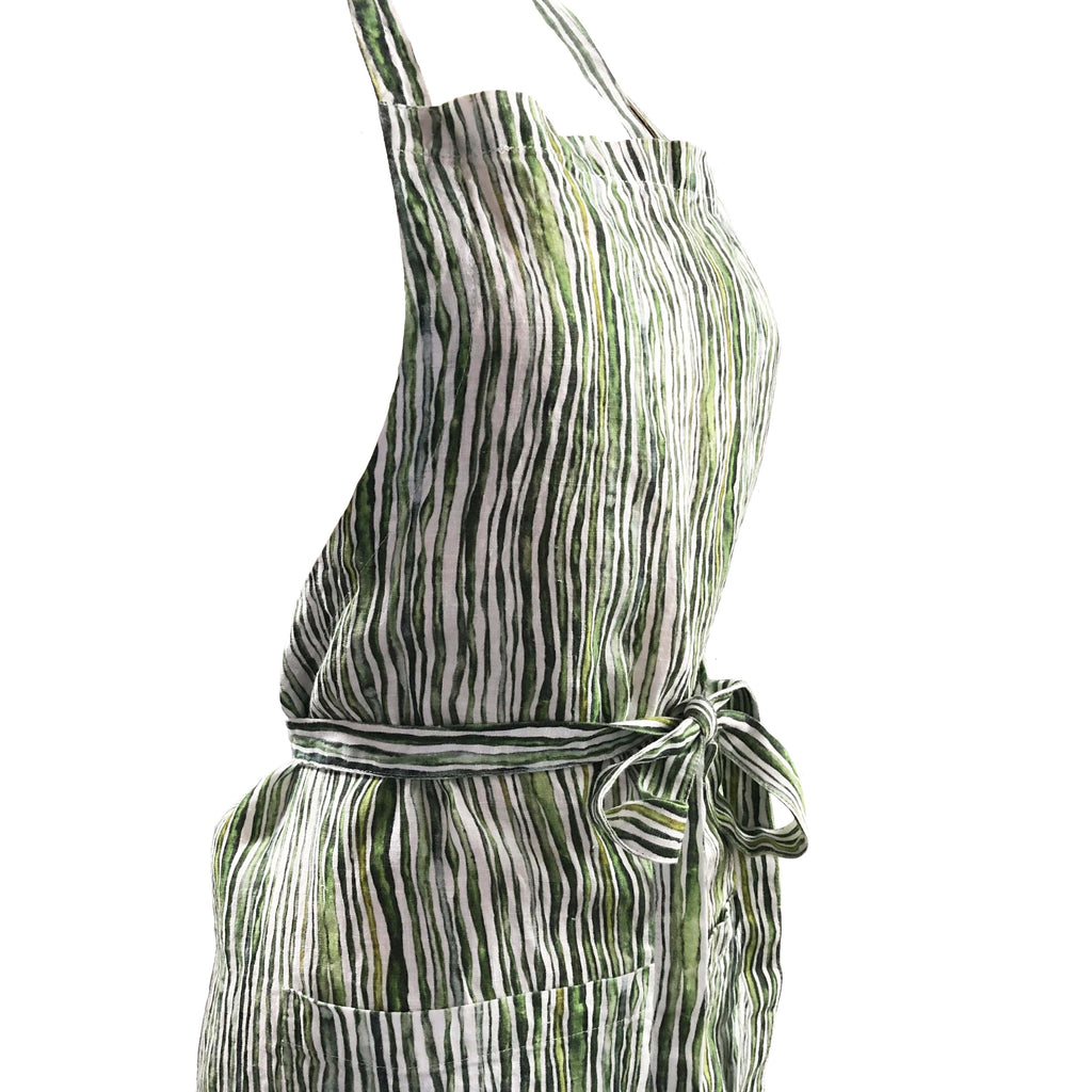 Green Stem Printed Linen Apron