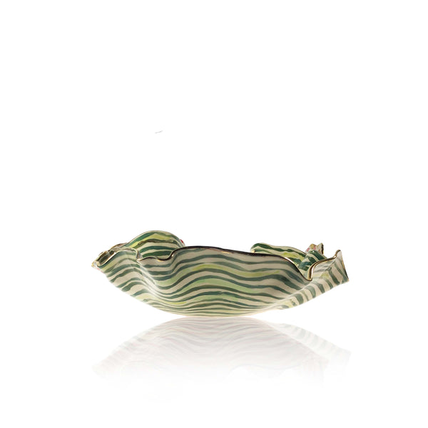 Medium Hand Painted Green Stem Stripe Bowl