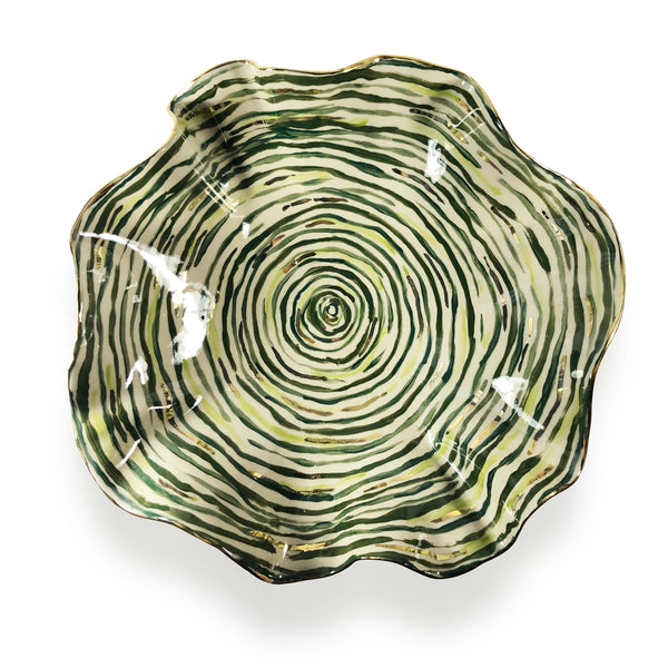 Extra Large Hand Painted Green Stem Stripe Bowl