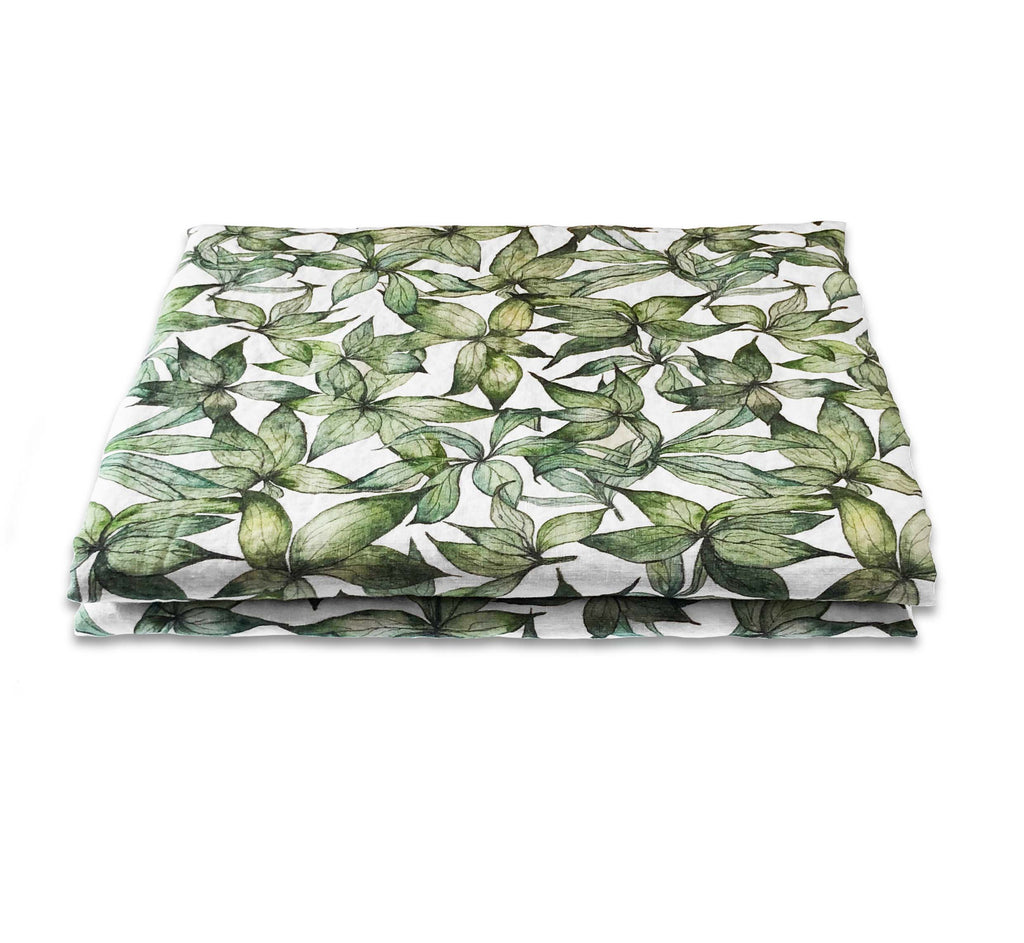 Hellebore Leaves Linen Table Cloth