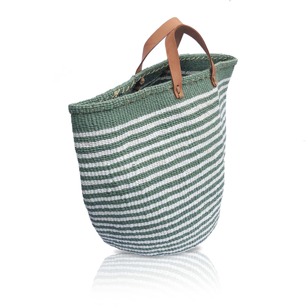 Large Basket Bag in Green/White