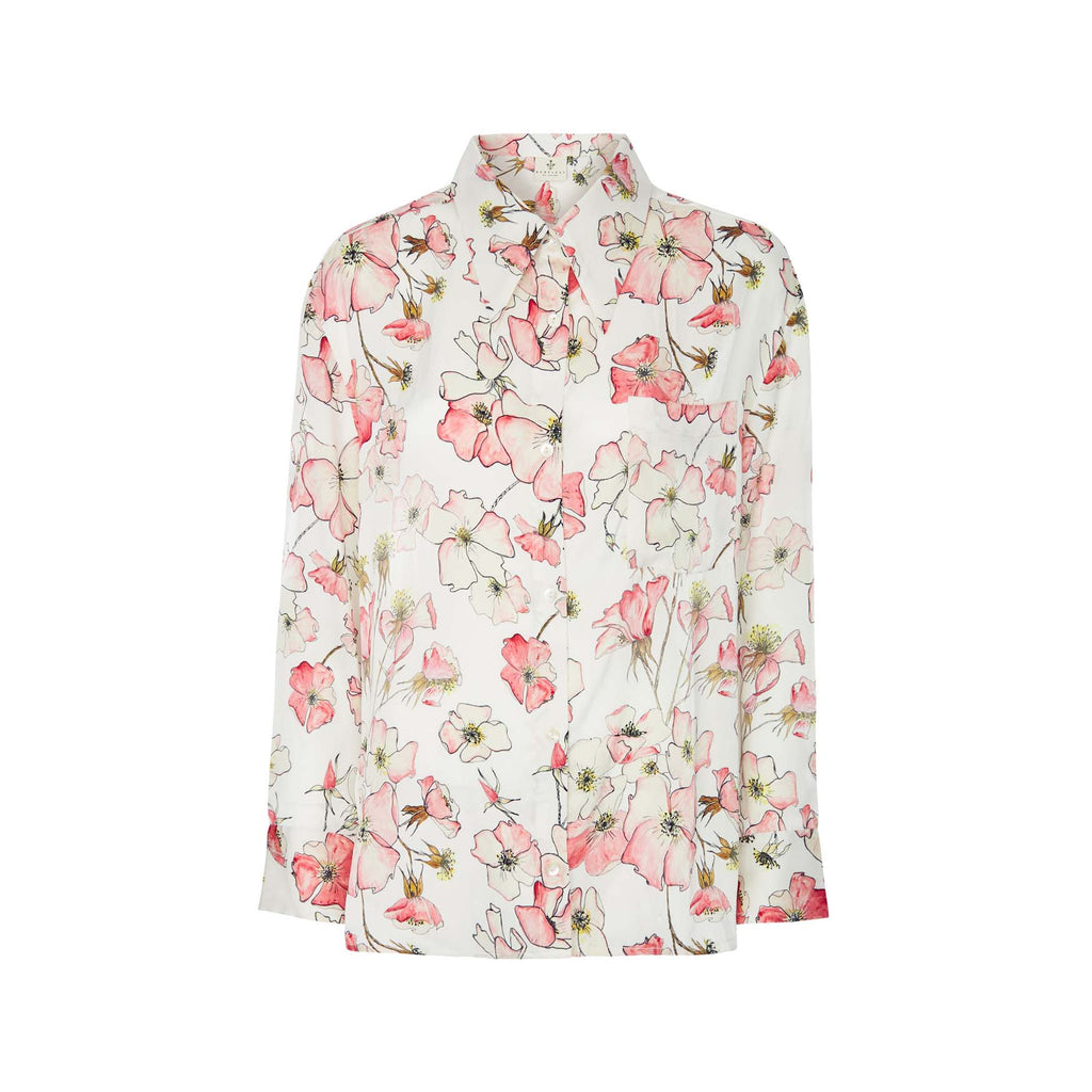 Silk Shirt in Pink Rose with Stripe