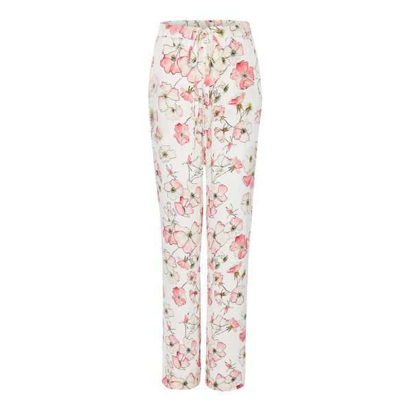 Silk Trousers in Pink Rose with Stripe