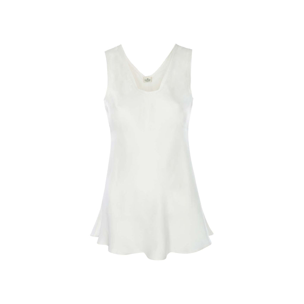Silk Camisole Top in Plain White