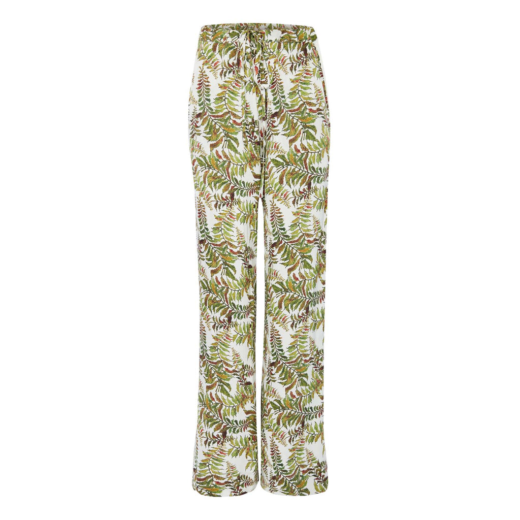 Silk Trousers in Fern with Stripe