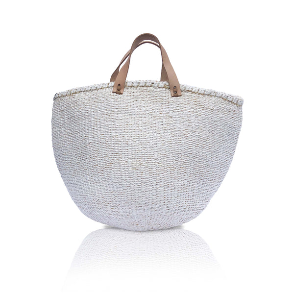 Medium Basket with Handles in White