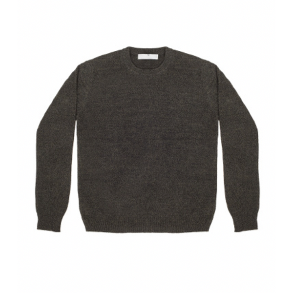 Mens Round Neck Jumper in Dark Green