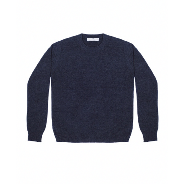 Mens Round Neck Jumper in Navy