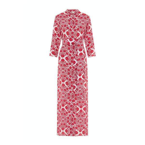 The Long Flirt Shirt Dress in Ville Blomst Pink