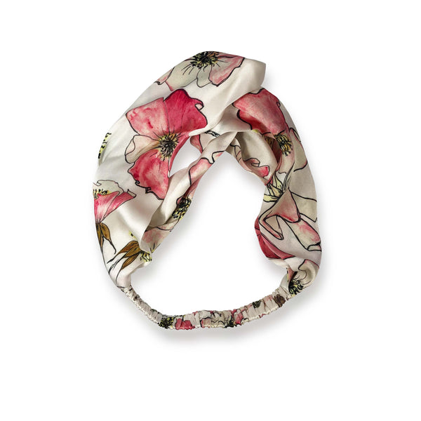 Silk Headband in Pink Rose