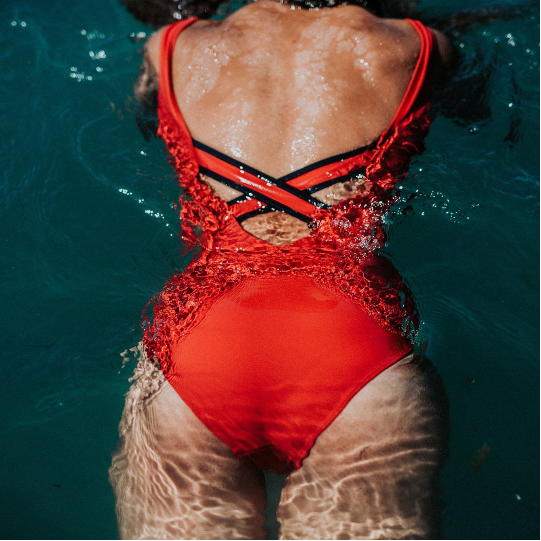 Davy J Classic Swimsuit - Red