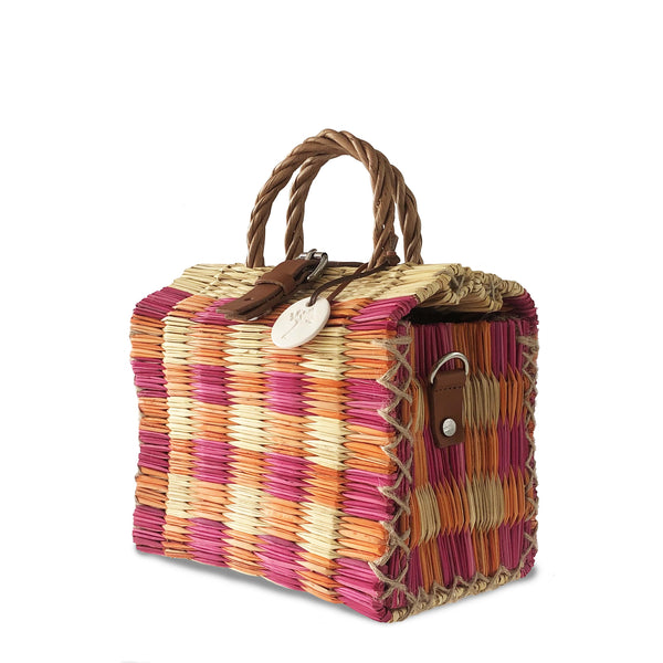 Pink & Orange Handwoven Reed Bag