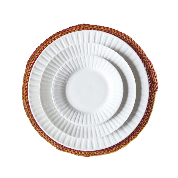 Pink/Orange & Neutral Hand Woven Straw Placemat