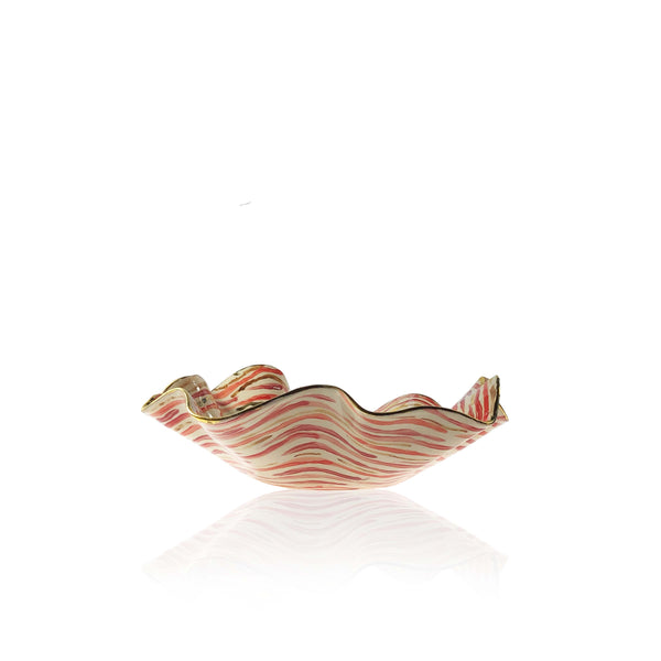 Medium Hand Painted Red Stem Stripe Bowl
