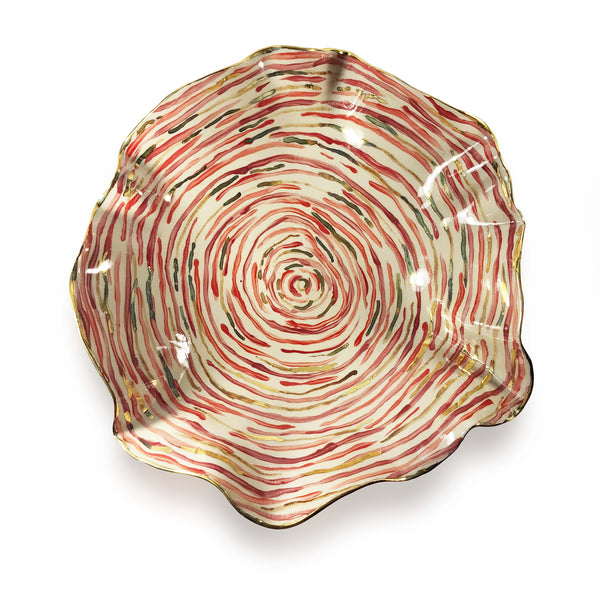 Extra Large Hand Painted Red Stem Stripe Bowl