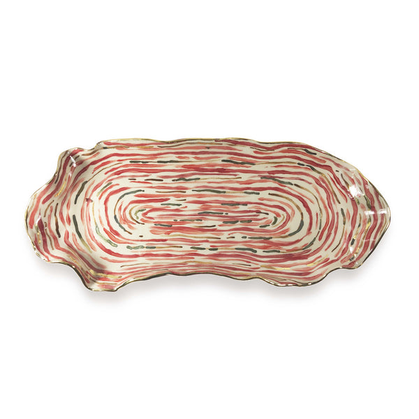 Hand Painted Red Stem Stripe Platter