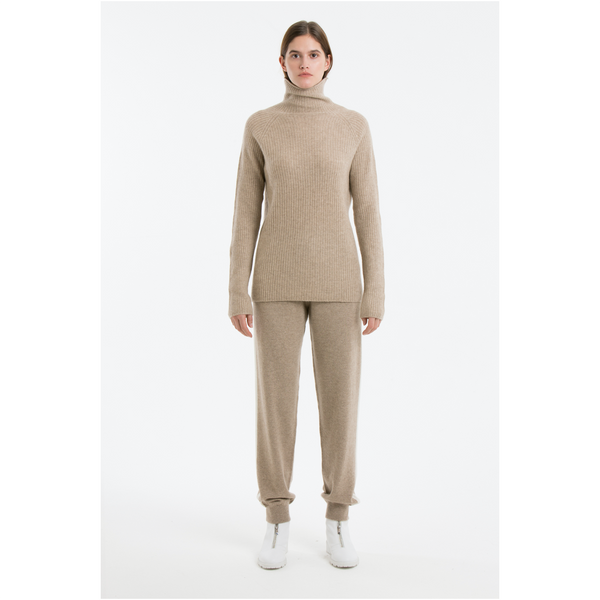 Simple Ribbed Jumper-Light Brown
