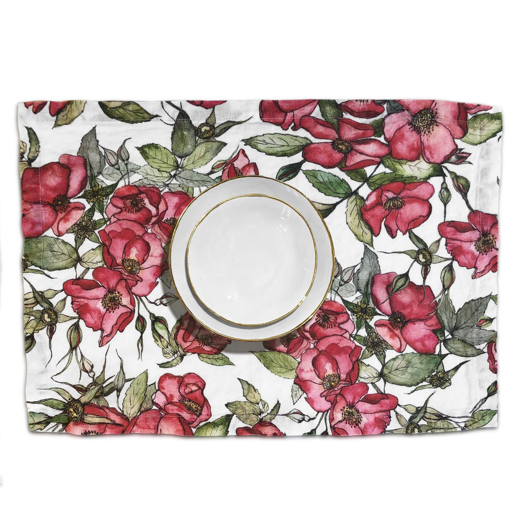Rosa Rugosa Linen Placemat