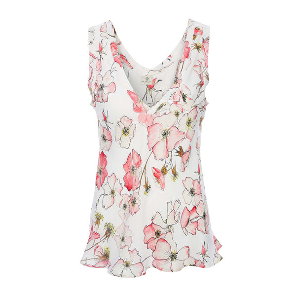 Silk Camisole Top in Pink Rose