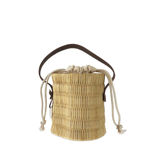 Handwoven Reed Bucket Bag