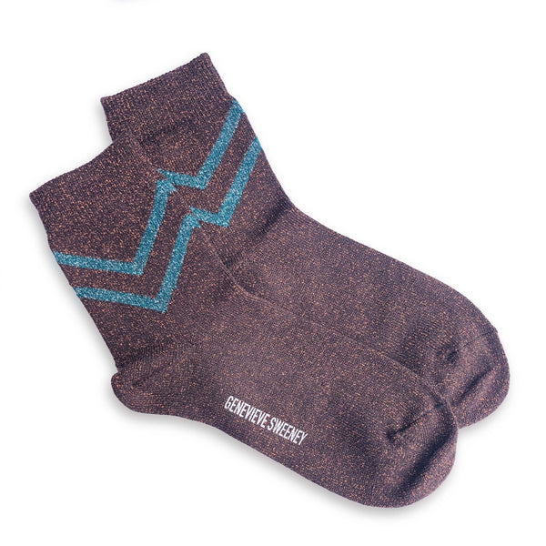 Selina Chevron Socks in Copper
