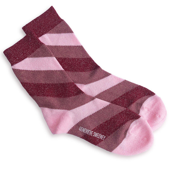 Serora Stripe Socks in Pink and Red