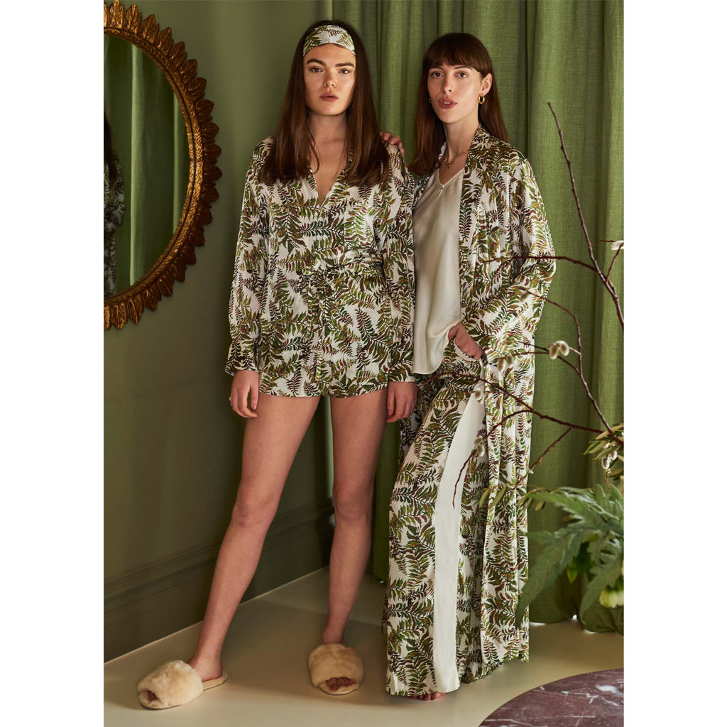 Silk Robe in Fern