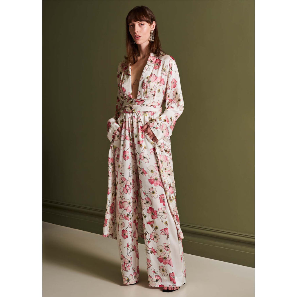 Silk Robe in Pink Rose