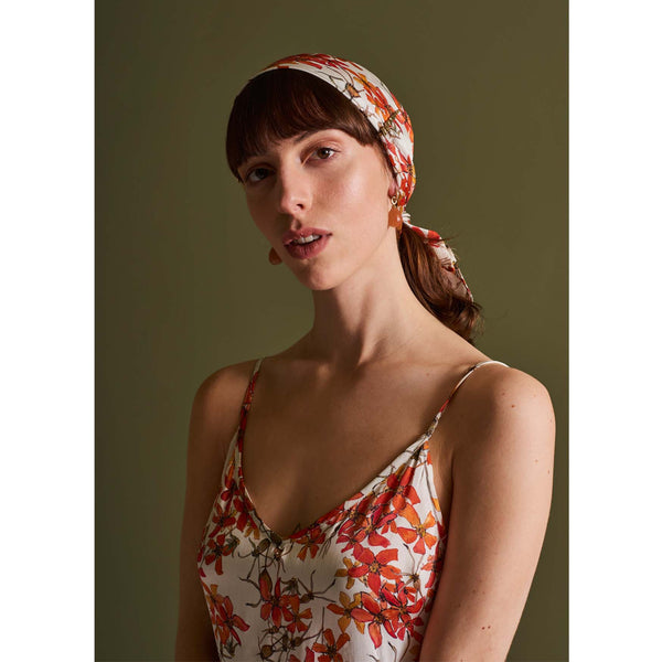 Silk Head Scarf in Wild Rose