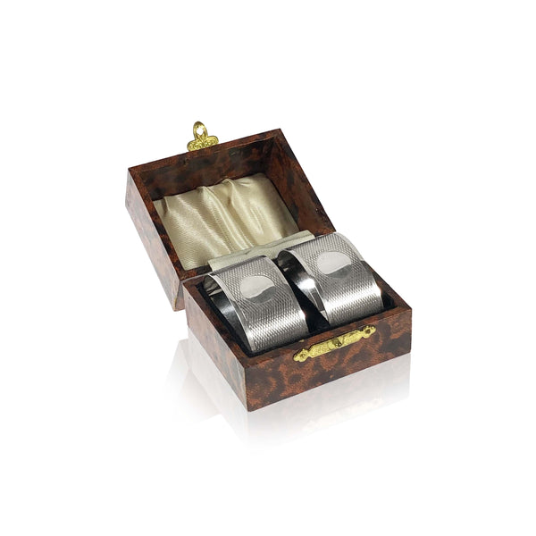Pair of Silver Napkin Rings in box Hallmarked