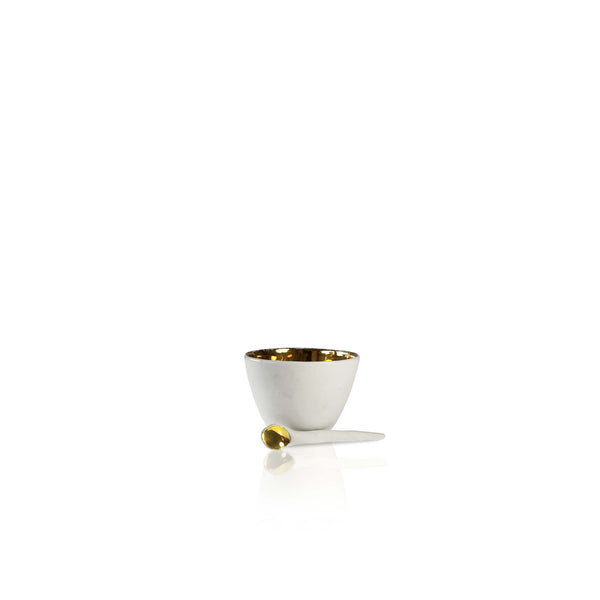 Small Ceramic Gold Bowl with Spoon