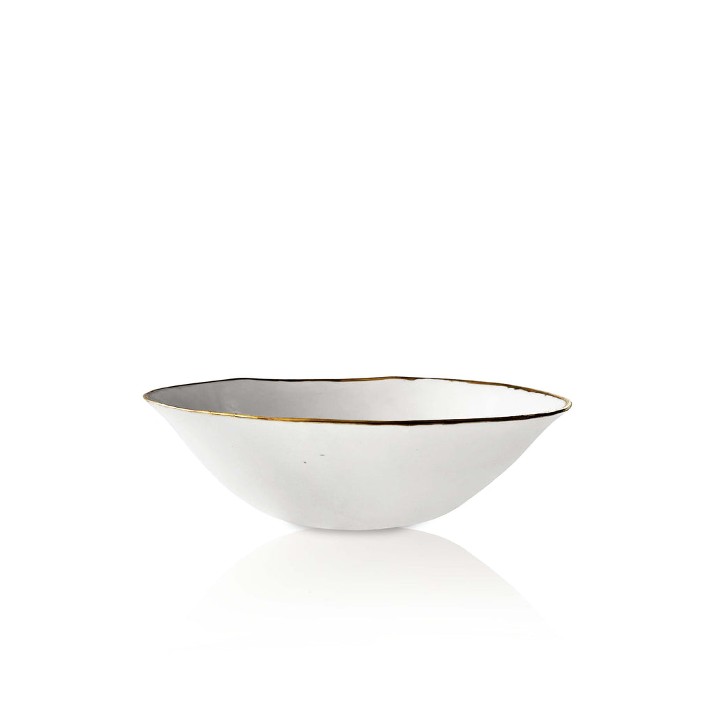 Hand Made Bowl with Gold Rim in White