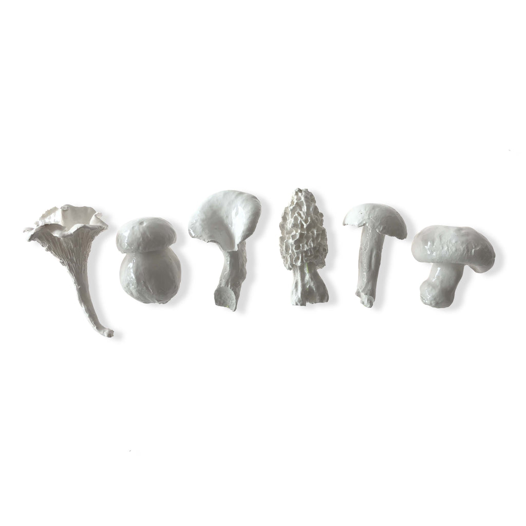 Set of 6 White Mini Mushrooms